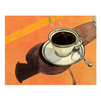 Vintage Cup of Coffee, Saucer, Spoon with Shadow Postcard