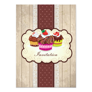 Vintage cupcakes, chocolate Birthday Party 4.5x6.25 Paper Invitation Card