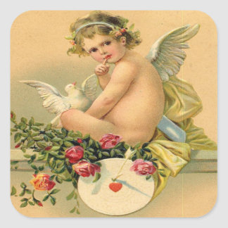 Vintage, Cupid Angel, Dove and Roses Square Sticker