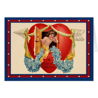 Vintage Cupid Token of Affection in a House Heart Greeting Card