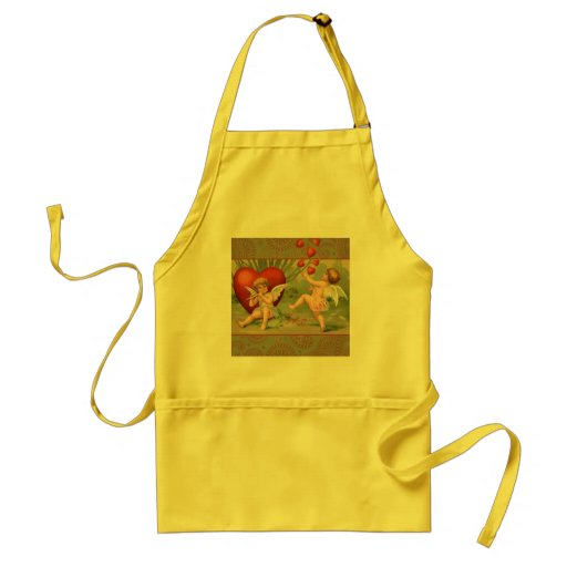 Vintage Cupids on Valentines Day with Hearts Aprons