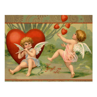 Vintage Cupids on Valentines Day with Hearts Postcard
