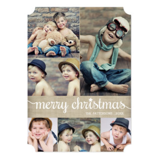 Vintage Cursive Merry Christmas Photo Collage Card