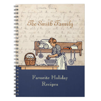 Vintage Custom Family Holiday Recipe Notebook