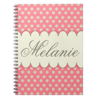 Vintage Custom Personalized Beige Pink Polka Dots Notebook