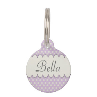Vintage Custom Personalized Purple Polka Dots Pet Name Tag
