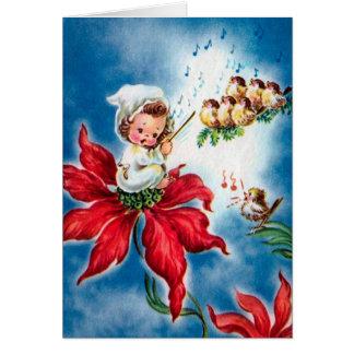 Vintage Cute Angel,Birdies singing ChristmasCarols Card