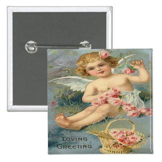 Vintage Cute Angel Pink Roses Pins