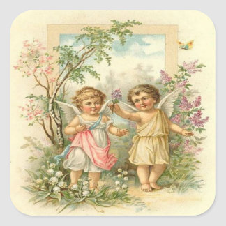 Vintage, Cute Angels Walking in The Garden Square Sticker