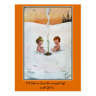 Vintage cute babies in the snow , 'simple life' postcard