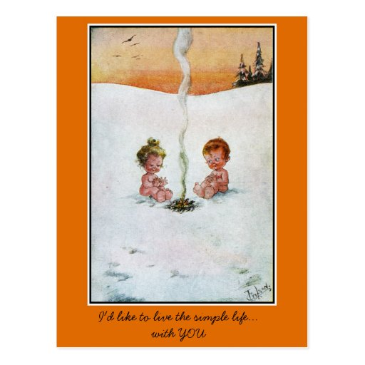 Vintage cute babies in the snow , 'simple life' post cards