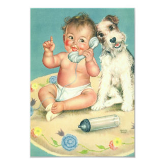 Vintage Cute Baby and Puppy Dog Change of Address 9 Cm X 13 Cm Invitation Card