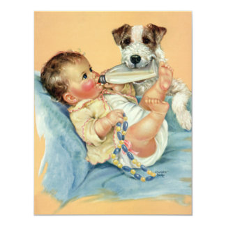 Vintage Cute Baby Bottle Puppy Dog, Baby Shower 4.25x5.5 Paper Invitation Card