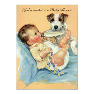 Vintage Cute Baby Bottle Puppy Dog, Baby Shower 4.5x6.25 Paper Invitation Card
