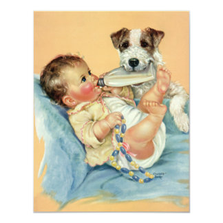 Vintage Cute Baby Boy with Bottle and Puppy Dog 11 Cm X 14 Cm Invitation Card