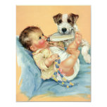 Vintage Cute Baby Boy with Bottle and Puppy Dog Personalized Invitation
