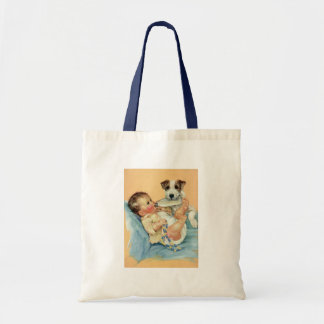 Vintage Cute Baby Boy with Bottle and Puppy Dog Budget Tote Bag