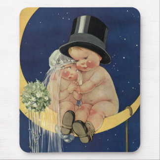 Vintage Cute Baby Bride and Groom on Crescent Moon Mouse Pad