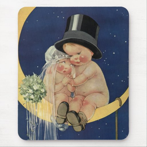 Vintage Cute Baby Bride and Groom on Crescent Moon Mouse Pads