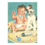 Vintage Cute Baby Dog Phone Birthday Party Personalized Announcement