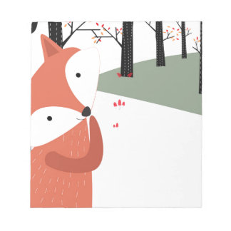 Vintage cute baby fox wolf smile happy in garden notepad