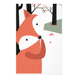 Vintage cute baby fox wolf smile happy in garden stationery
