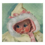 Vintage Cute Baby Girl Wearing a Faux Fur Coat Posters