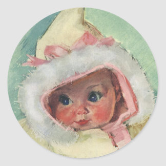 Vintage Cute Baby Girl Wearing a Faux Fur Coat Round Sticker