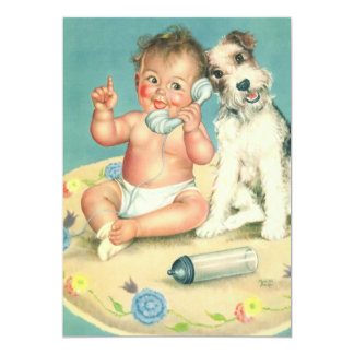 Vintage Cute Baby on the Phone with Dog Invitation