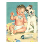 Vintage Cute Baby Phone and Dog Baby Shower Personalised Announcements