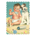Vintage Cute Baby Phone Puppy Dog Baby Shower Personalised Invites