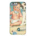 Vintage Cute Baby Talking on Phone Puppy Dog