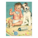 Vintage Cute Baby Talking on Phone Puppy Dog Postcards