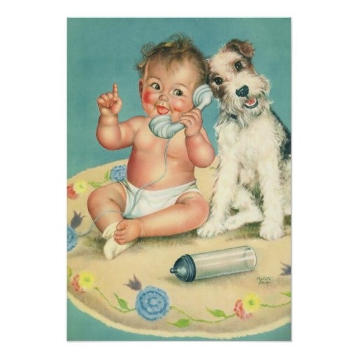 Vintage Cute Baby Talking on Phone Puppy Dog Poster