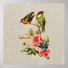 Vintage Cute Birds & Roses Landscape Painting Poster