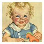 Vintage Cute Blonde Curl Baby Smiles Baby Shower Invitation