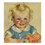 Vintage Cute Blonde Curl Baby Smiles with Toy Hors Print