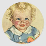 Vintage Cute Blonde Curl Baby Smiles with Toy Hors Round Stickers