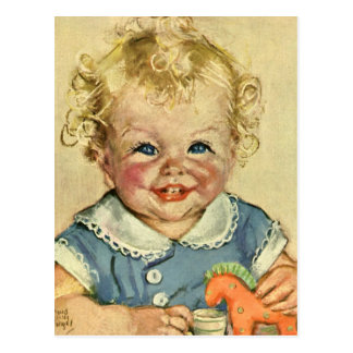 Vintage Cute Blonde Scandinavian Baby Boy or Girl Postcard