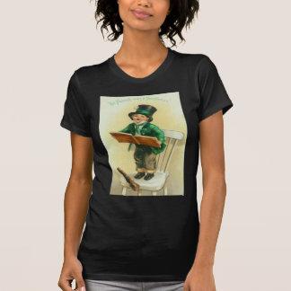 Vintage Cute Boy Shillelagh St Patrick's Day Card T-shirt
