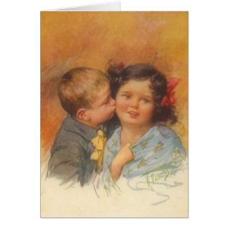 Vintage Cute Boy Stealing a Kiss on the Cheek Greeting Card