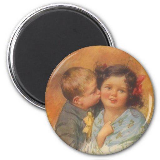 Vintage Cute Boy Stealing a Kiss on the Cheek Magnet