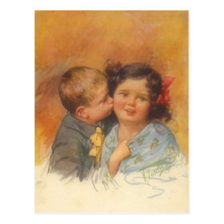 Vintage Cute Boy Stealing a Kiss on the Cheek Postcard