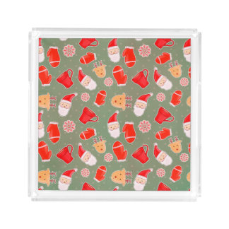 Vintage Cute Christmas Pattern Acrylic Tray