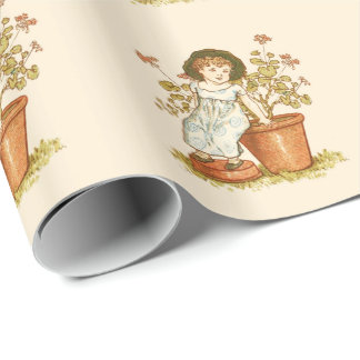VINTAGE CUTE GARdENING GIRL SITTING IN THE GARDEN Wrapping Paper