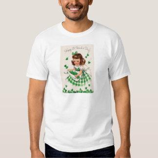Vintage Cute Girl Shamrock St Patrick's Day Card Tee Shirt