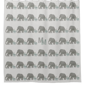 Vintage Cute Gray Elephants with Monogram Shower Curtain