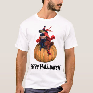 vintage cute halloween witch and cat with text T-Shirt
