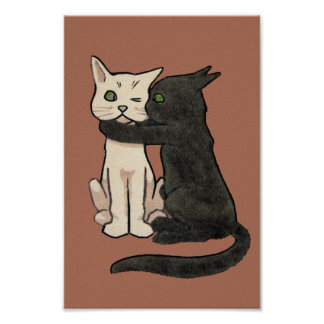 Vintage Cute Kissing Cat Art Poster Print