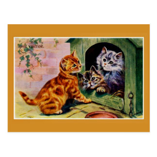 Vintage cute kittens The Visitor Postcard